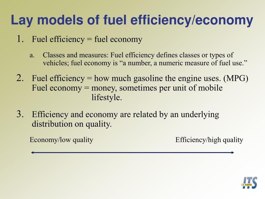 Lay models of fuel efficiency/economy