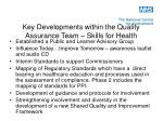 key developments within the quality assurance team skills for health