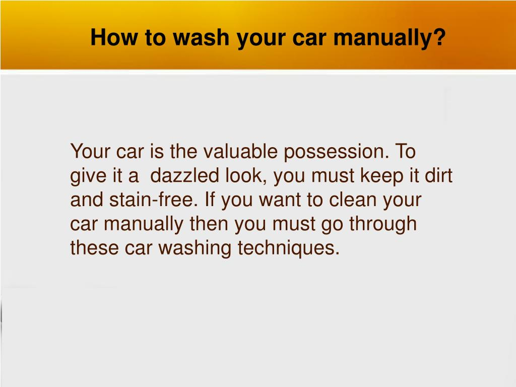 how to wash your car manually l.