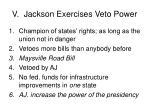 v jackson exercises veto power