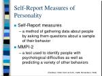 self report measures of personality