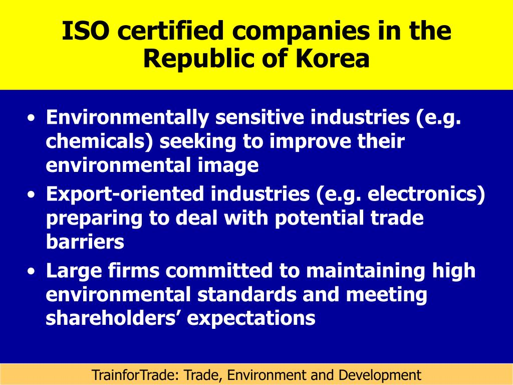 ISO certified companies in the Republic of Korea