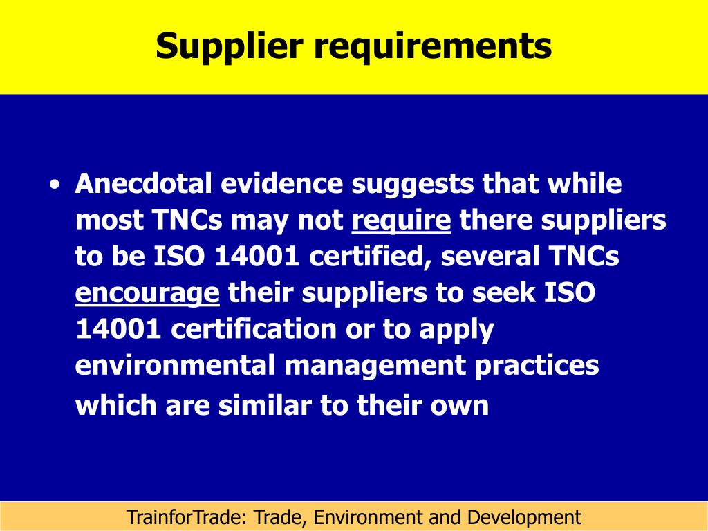 Supplier requirements