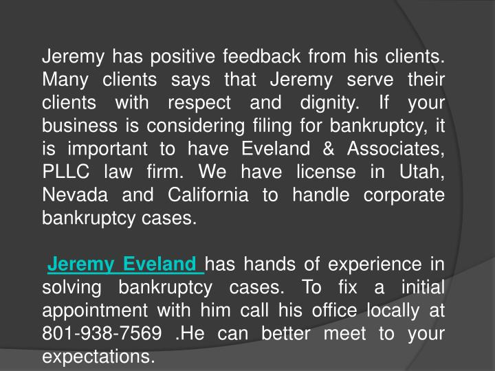 Jeremy has positive feedback from his clients. Many clients says that Jeremy serve their clients wit...