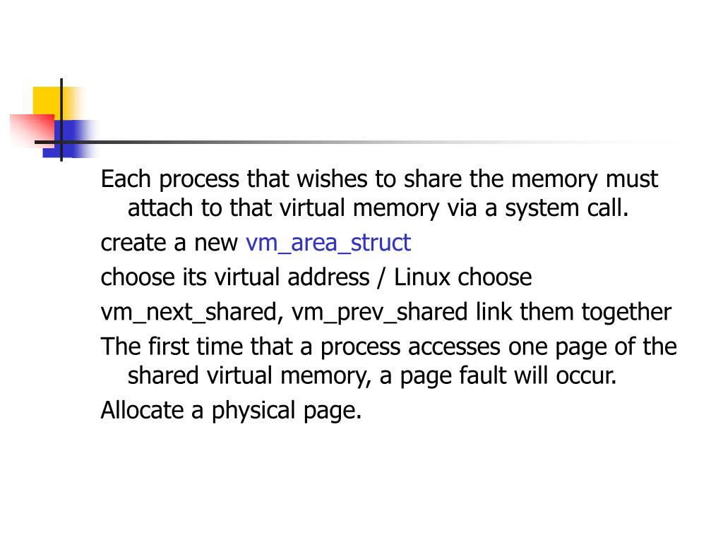 Each process that wishes to share the memory must attach to that virtual memory via a system call.