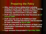 preparing the policy4