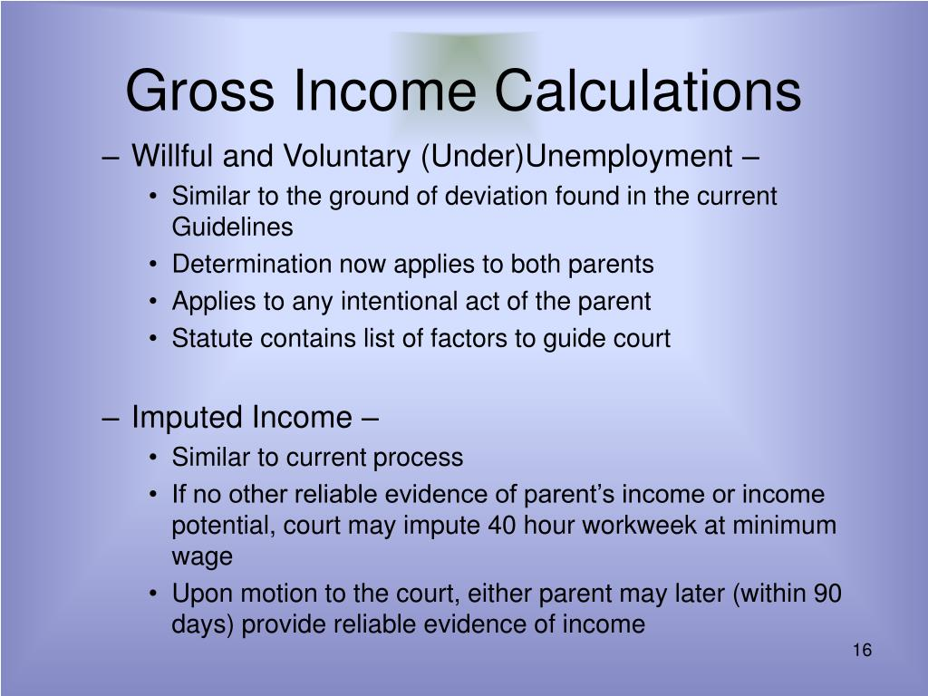 Gross Income Calculations