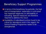 beneficiary support programmes