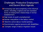 challenges productive employment and decent work agenda