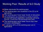 working poor results of ilo study