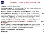 proposed outline of smd science plan