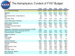 the astrophysics content of fy07 budget