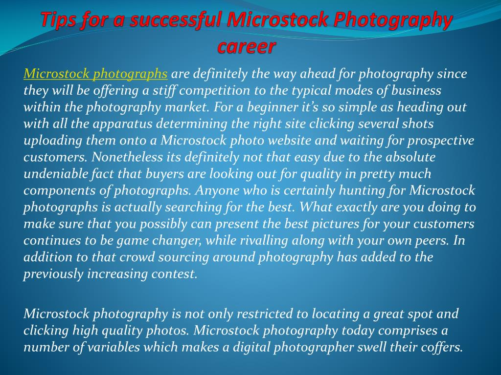 tips for a successful microstock photography career l.
