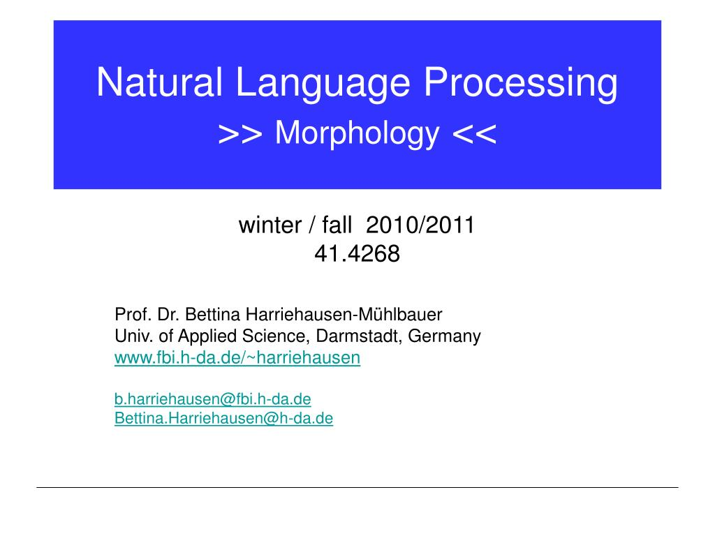 natural language processing morphology l.