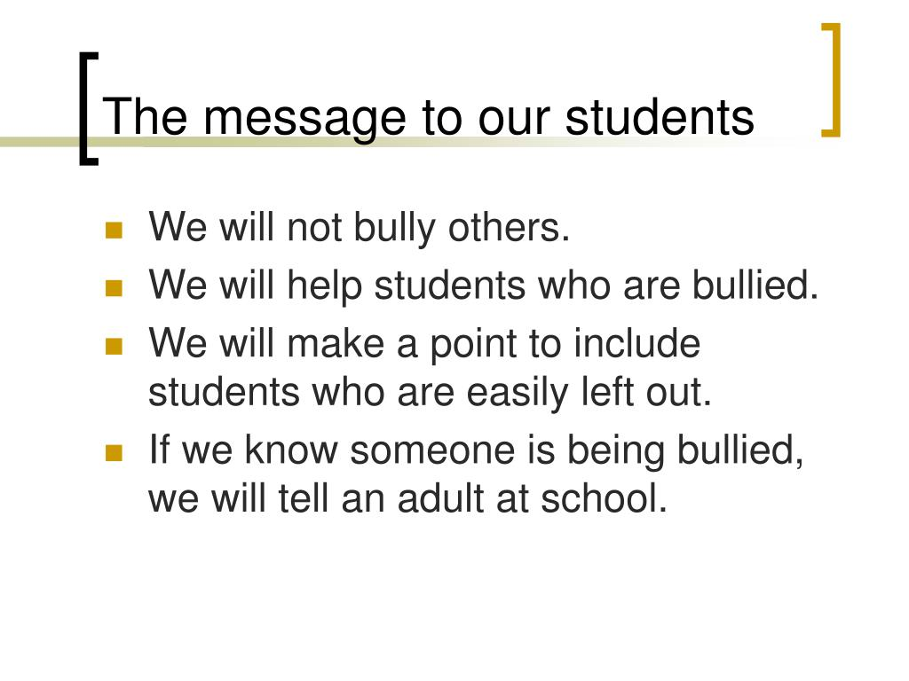 The message to our students