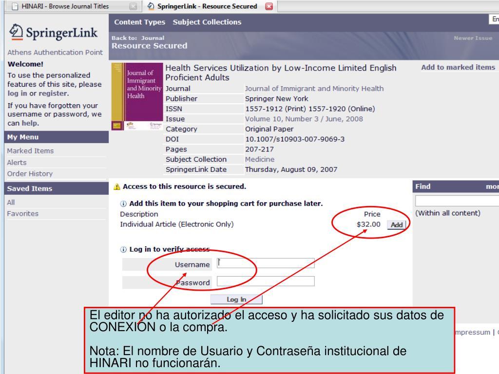 El editor no ha autorizado el acceso y ha solicitado sus datos de CONEXIÓN o la compra.
