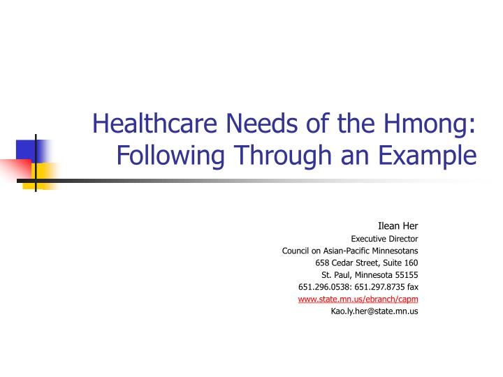 healthcare needs of the hmong following through an example n.