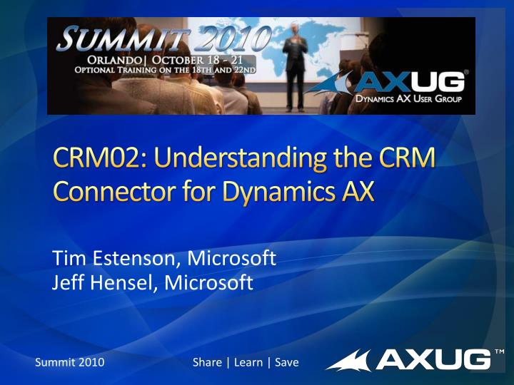 crm02 understanding the crm connector for dynamics ax n.