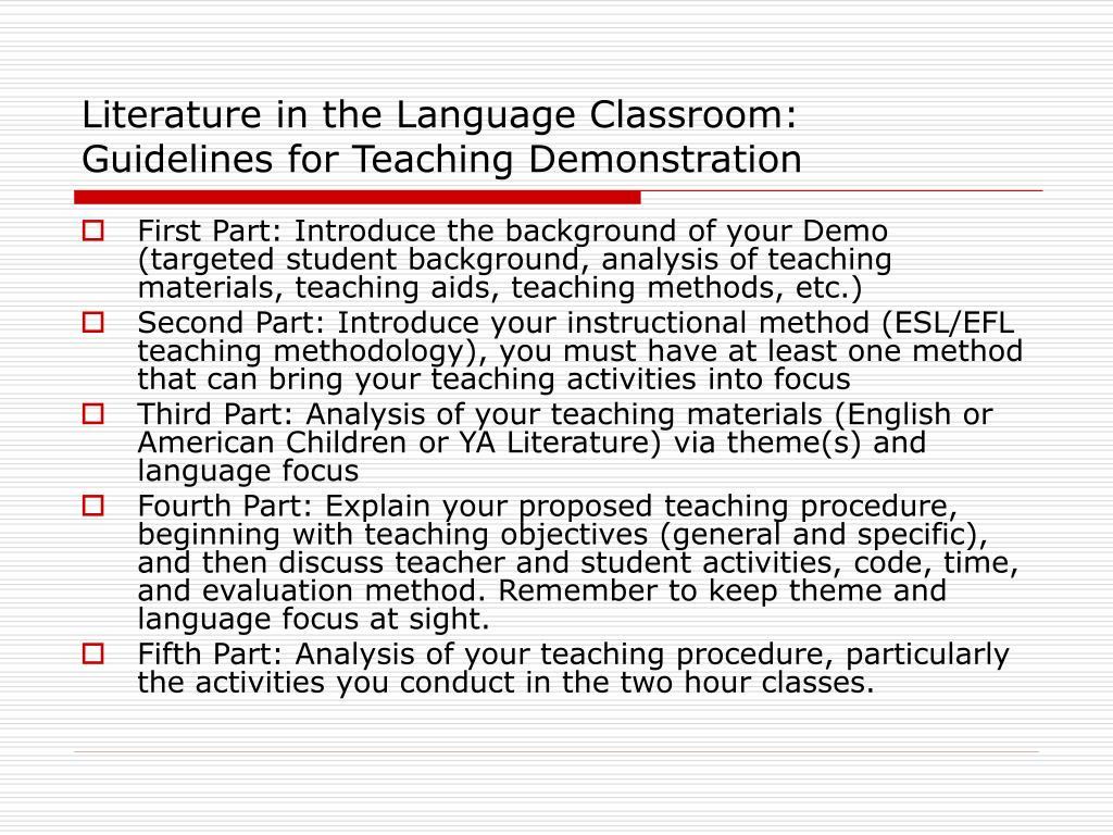 Literature in the Language Classroom: