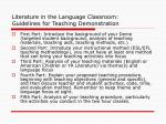 literature in the language classroom guidelines for teaching demonstration