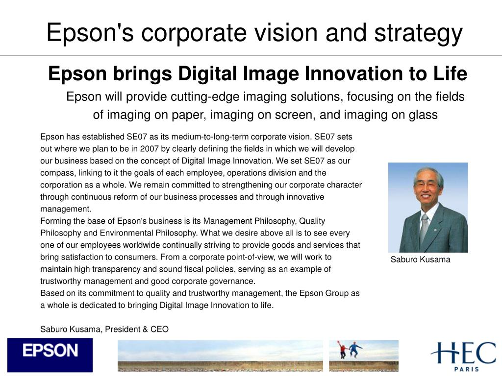 Epson's corporate vision and strategy