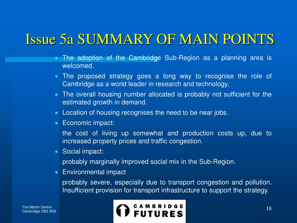 Issue 5a SUMMARY OF MAIN POINTS