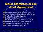 major elements of the joint agreement