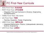 fc first year curricula