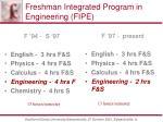 freshman integrated program in engineering fipe