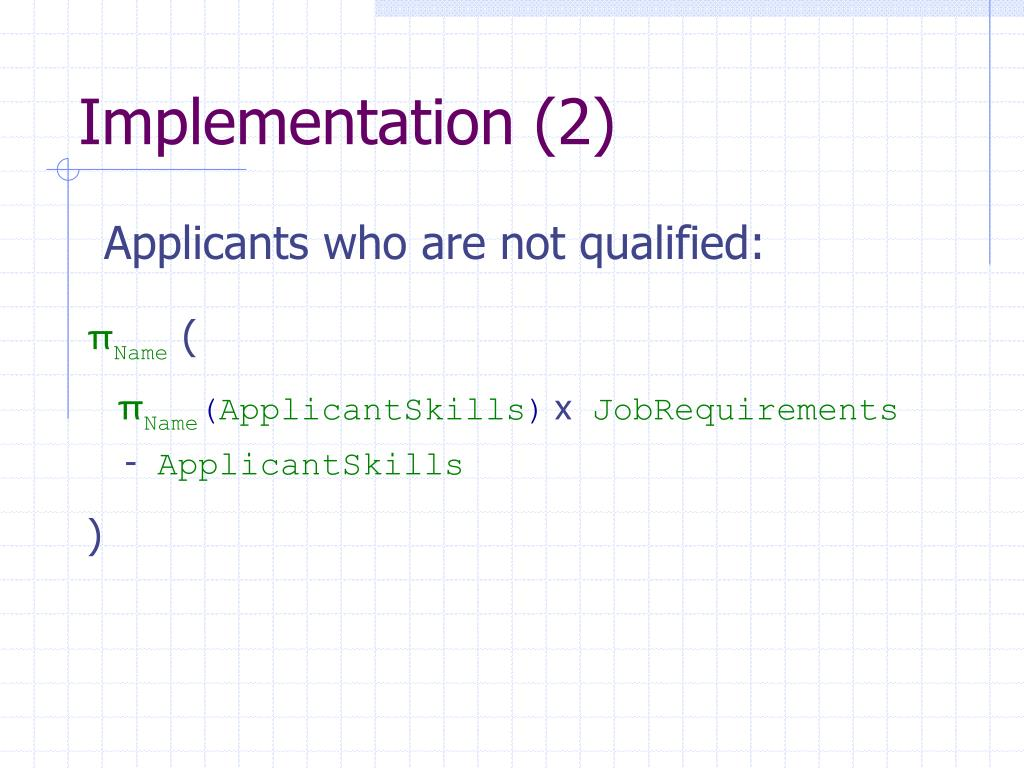 Implementation (2)