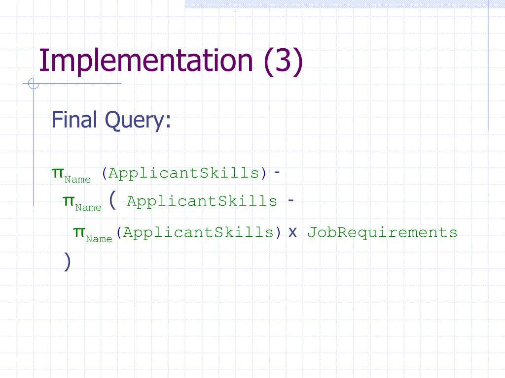 Implementation (3)