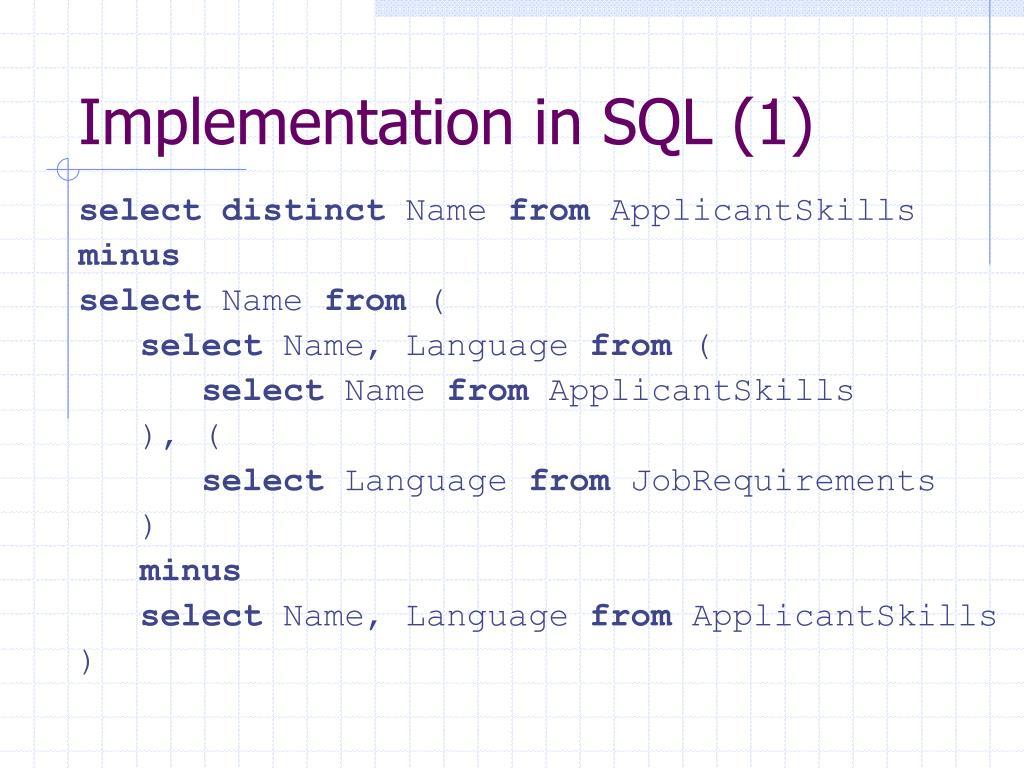 Implementation in SQL (1)