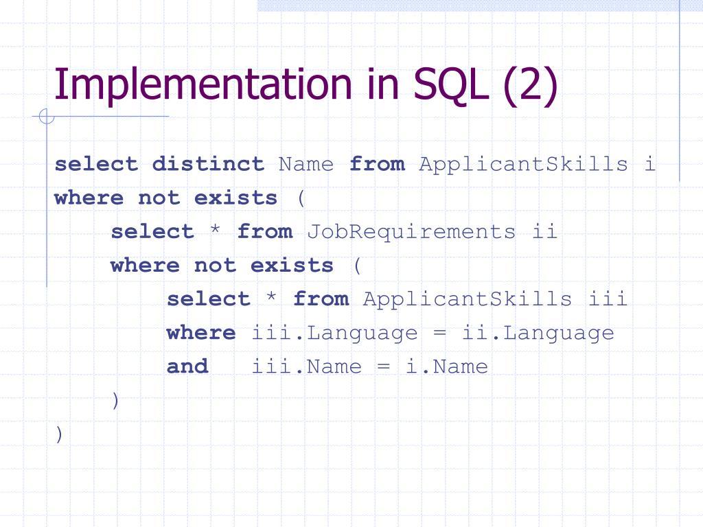 Implementation in SQL (2)
