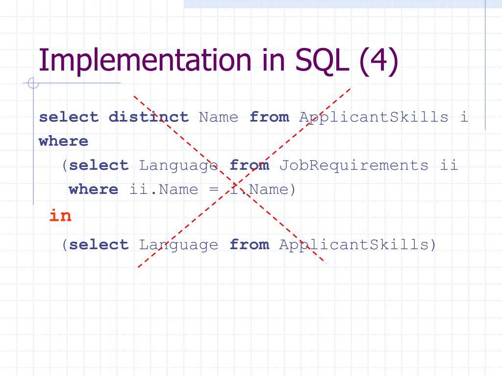 Implementation in SQL (4)