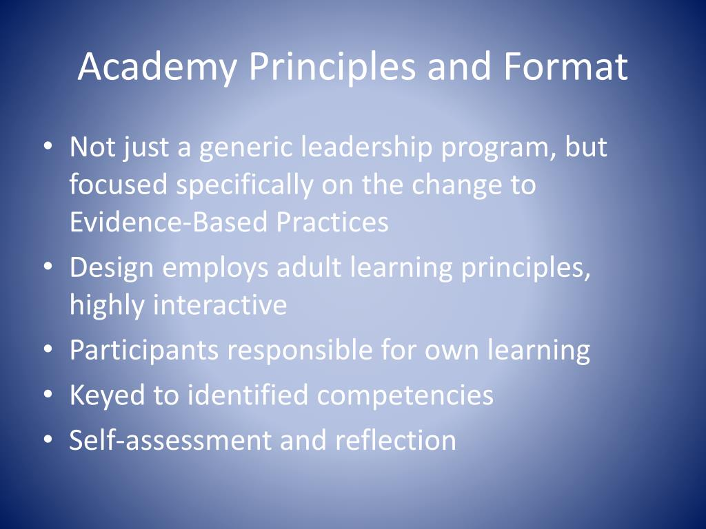 Academy Principles and Format