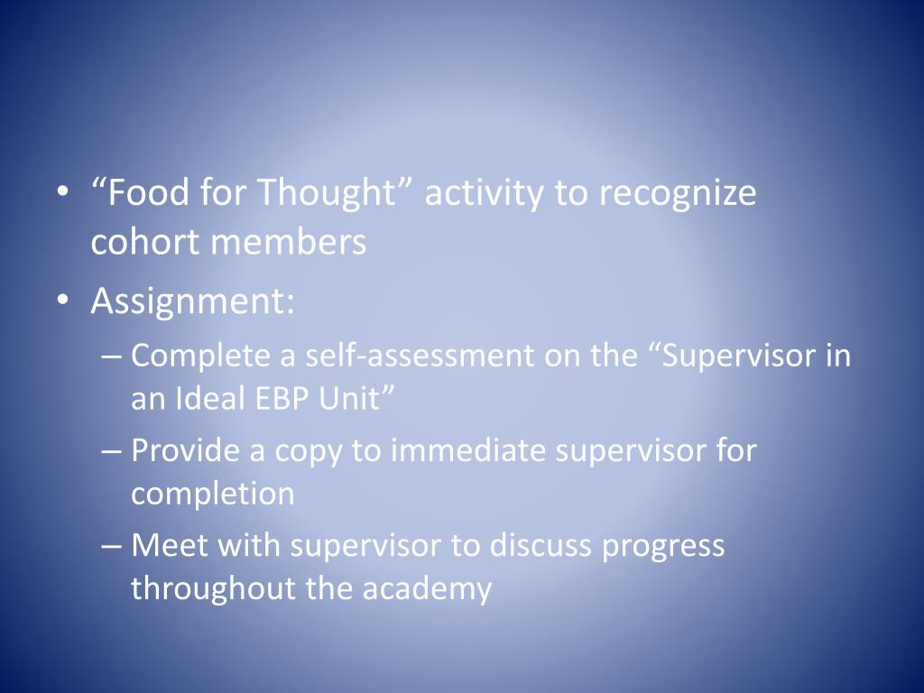 """""""Food for Thought"""" activity to recognize cohort members"""