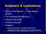 evidence limitations