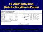 iv aminophylline adults arrythmia palps