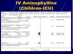 iv aminophylline children icu