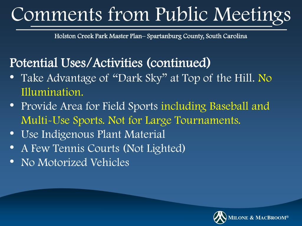 Comments from Public Meetings