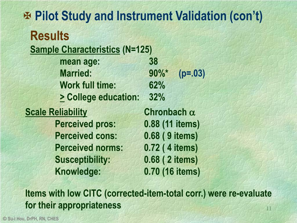 Pilot Study and Instrument Validation (con't)