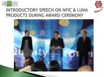introductory speech on nfic luna products during award ceremony
