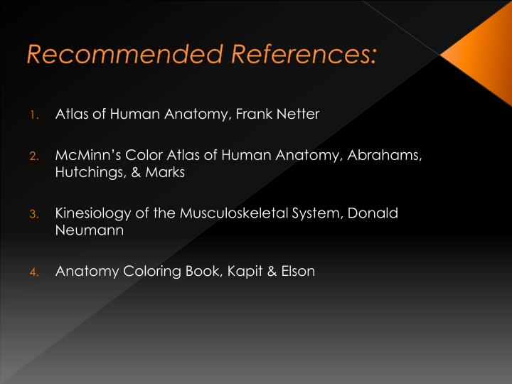 Recommended References:
