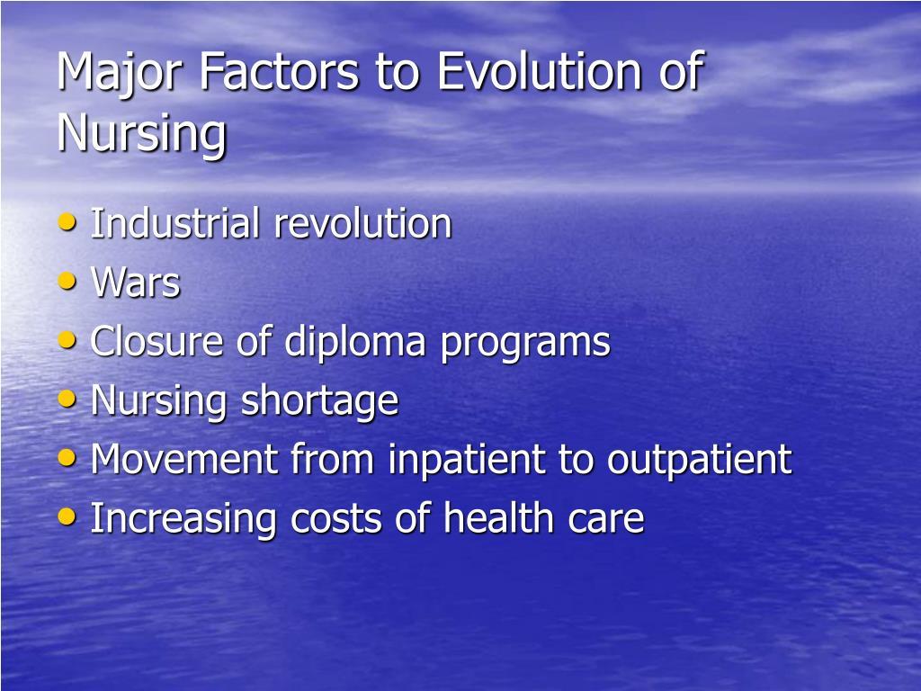 Major Factors to Evolution of Nursing