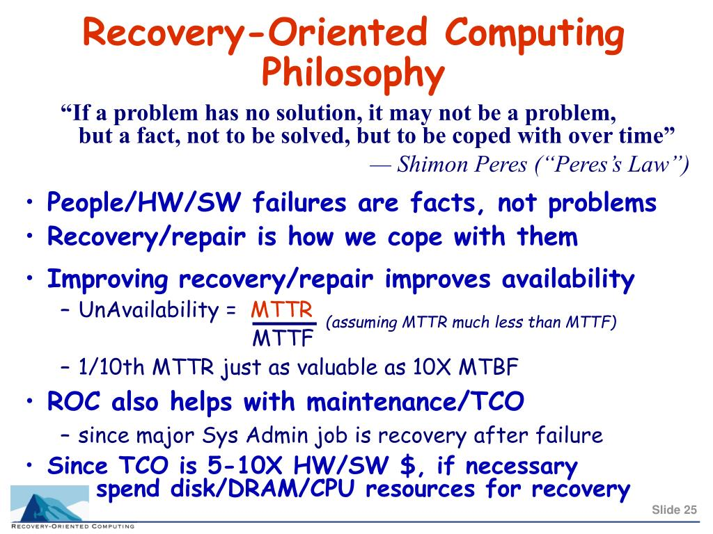 Improving recovery/repair improves availability