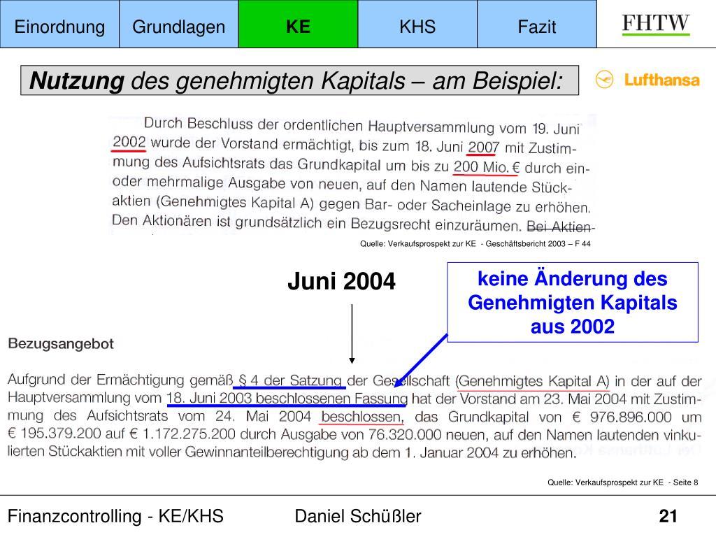 keine Änderung des Genehmigten Kapitals aus 2002