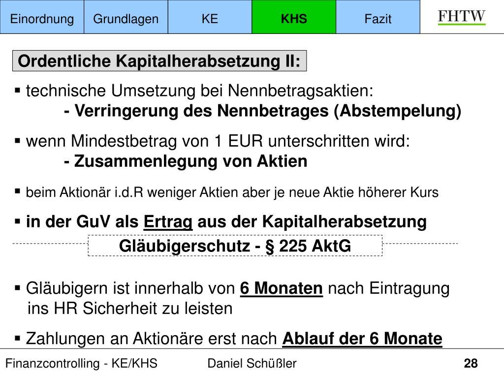Gläubigerschutz - § 225 AktG