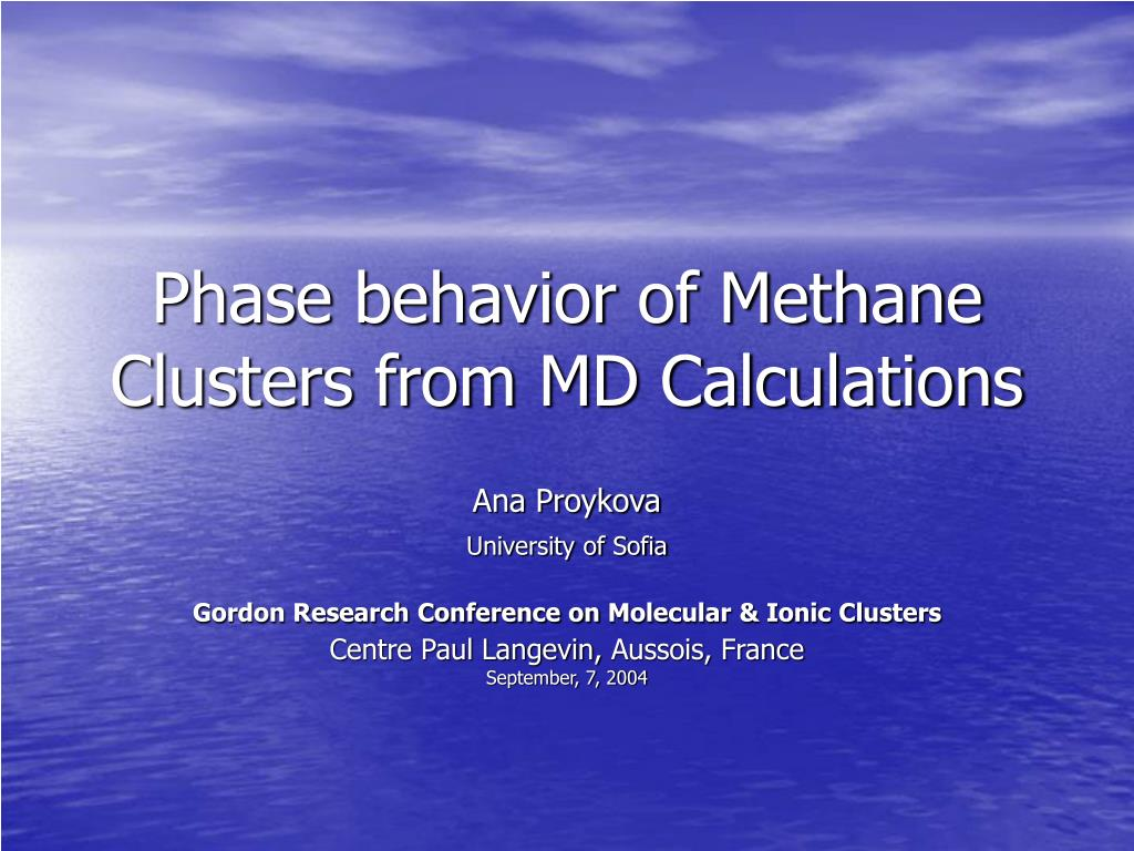 phase behavior of methane clusters from md calculations l.