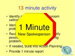 13 minute activity