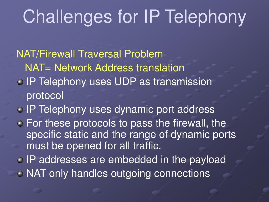 Challenges for IP Telephony